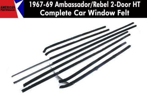 1967-69 AMC Ambassador/Rebel 2-Door Hardtop Window Felt Kit, 8-Piece