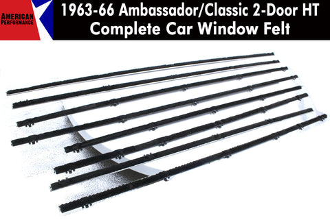 Window Felt/Beltline Weatherstrip Kit, 1963-66 Rambler Ambassador, Classic, 2-Door Hardtop - AMC Lives