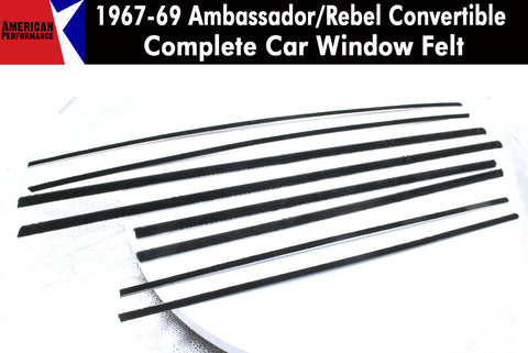 Window Felt/Beltline Weatherstrip Kit, 1967-69 AMC Ambassador, Rebel, Convertible 2-Door - AMC Lives
