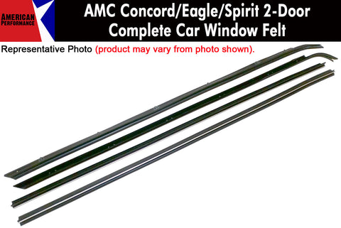 Window Felt/Beltline Weatherstrip Kit, 1978-88 AMC Concord, Eagle, Spirit, 2-Door Sedan