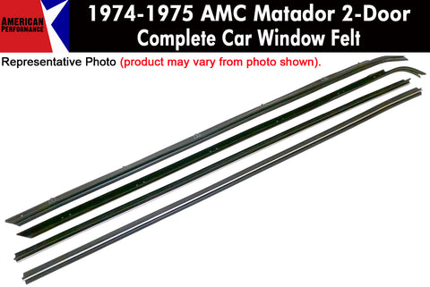 1974-75 AMC Matador 2-Door Sedan Window Felt Kit, 4-Piece