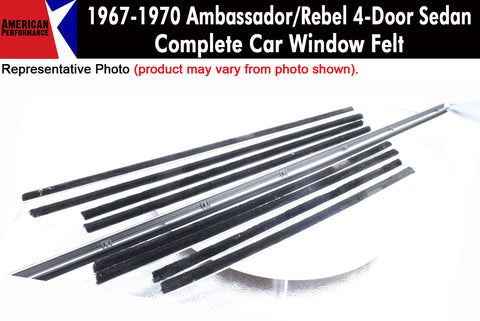 Window Felt/Beltline Weatherstrip Kit, 1967-70 AMC Ambassador, Rebel, 4-Door - AMC Lives