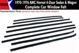 Window Felt/Beltline Weatherstrip Kit, 1970-76 AMC Hornet, 4-Door Sedan & Wagon