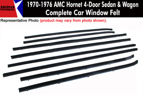 Window Felt/Beltline Weatherstrip Kit, 1970-76 AMC Hornet, 4-Door Sedan & Wagon - AMC Lives