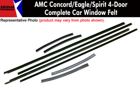 Window Felt/Beltline Weatherstrip Kit, 1978-88 AMC Concord, Eagle, Spirit, 4-Door Sedan & Wagon