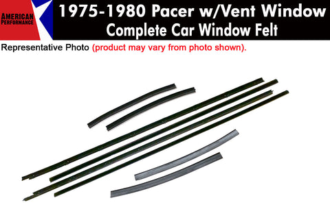 1975-80 AMC Pacer Window Felt Kit With Vent Window, 4-Piece