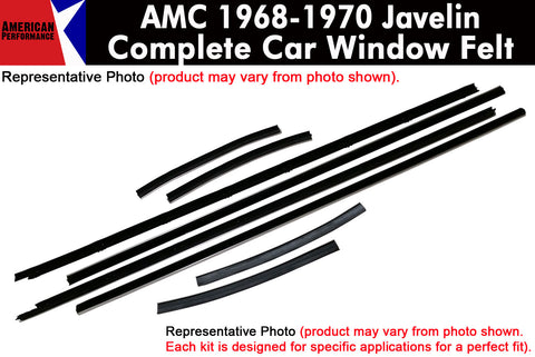 Window Felt/Beltline Weatherstrip Kit, 1968-70 AMC Javelin - AMC Lives