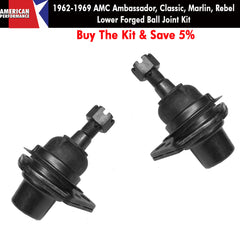 Ball Joint Kit, Lower, Forged, 1962-69 AMC Ambassador, Classic, Marlin, Rebel- Limited Lifetime Warranty - AMC Lives