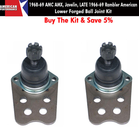 1968-69 AMC AMX, Javelin, Late 1966-69 Rambler American Forged Front Lower Ball Joint Kit - Limited Lifetime Warranty