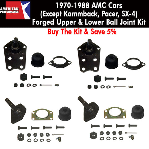 Ball Joint Kit, Upper & Lower, Forged, 1970-88 AMC Cars (Except Eagle & Pacer) - Limited Lifetime Warranty - AMC Lives
