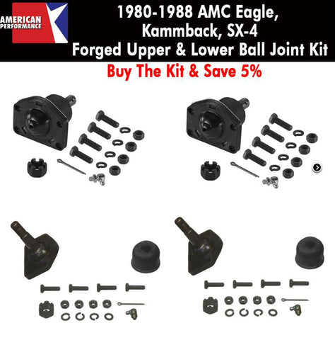 Ball Joint Kit, Upper & Lower, Forged, 1980-88 AMC Eagle - Limited Lifetime Warranty - AMC Lives