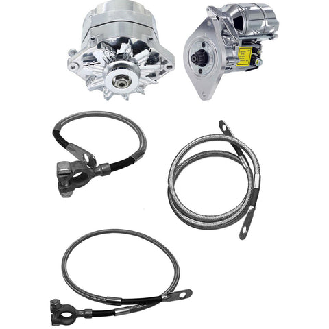 Alternator 150 AMP,  Mini Starter, & Braided Stainless Battery Cable Kit, Chrome Finish (1 or 6 Groove Pulley) - AMC Lives