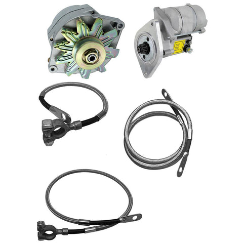 Alternator 150 AMP,  Mini Starter, & Braided Stainless Battery Cable Kit, Natural Finish (1 or 6 Groove Pulley)