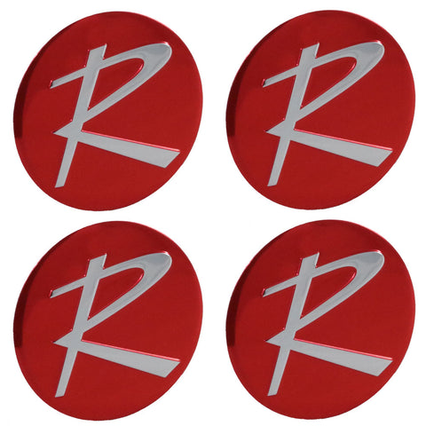 "Wheel Center Cap Emblem Kit, Red ""R"", Typhoon & All w/2-Bar Spinner, 1964-66 Rambler (4 Required)"