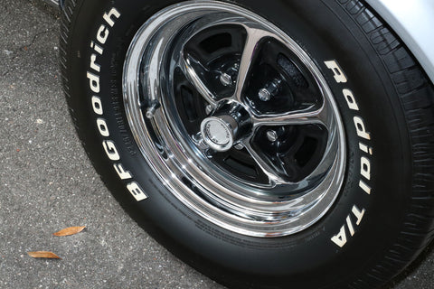 "Magnum 500 Wheel, 15X6"" Chrome Steel, Set of 4 With Center Caps & Lug Nuts, 1964-88 AMC, Rambler, Eagle"