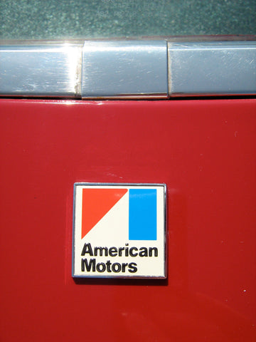 "Deck Lid Emblem, ""American Motors"", Stick-On, Red, White, and Blue, 1970 Late-71 AMC"