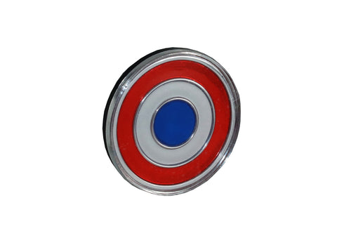 "Grille Emblem, Bullseye, 1 5/8"" x 1 5/8"", Red, Blue, and Silver, 1971 AMC Javelin"