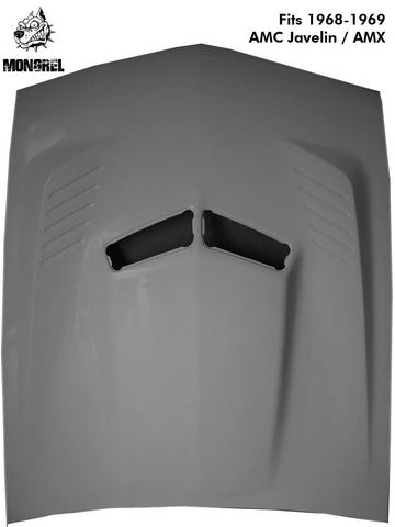 Fiberglass Hood, Pin-On, Mongrel Ram Air, 1968-69 AMC AMX & Javelin