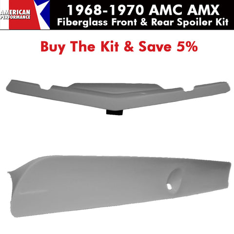 Fiberglass Group 19 Front & 71-74 Javelin AMX Style Rear Spoiler Kit, 1968-70 AMC AMX