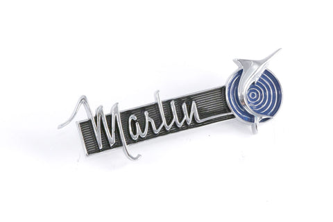 "1965-1967 AMC Marlin Script 4""x1.5"" Fender Emblem - Blue, Black, and Silver (2 Required)"