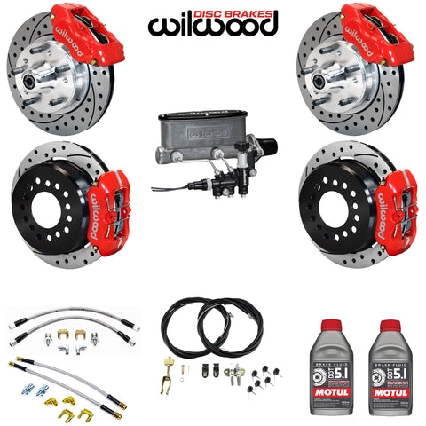 "4-Wheel Disc Master Kit, Wilwood, 11"" Drilled/Slotted Rotors, 4-Piston Front & Rear, 1967-1983 AMC (For Control Freak IFS Only)"