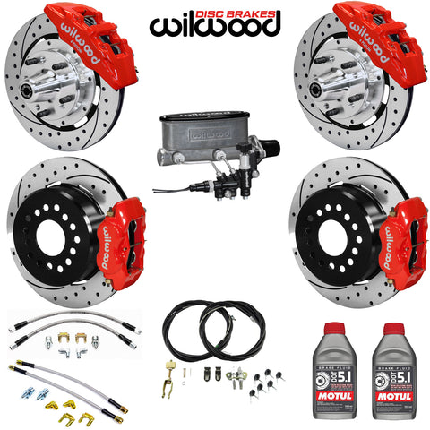 "4-Wheel Disc Master Kit, Wilwood, 12"" Drilled/Slotted Rotors, 6-Piston Front & 4-Piston Rear Calipers for OE AMC Spindles, 1968-1979 AMC (Except Control Freak IFS)"