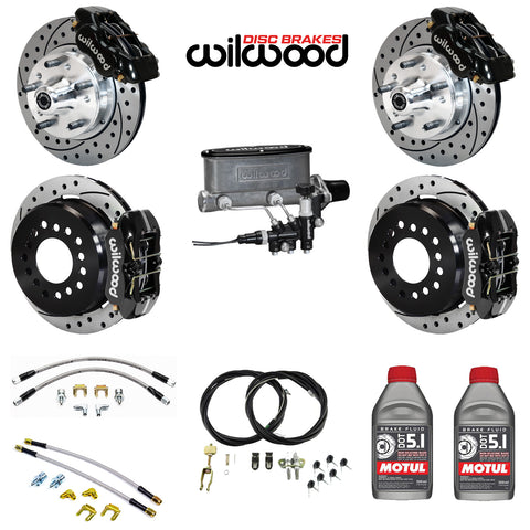 "4-Wheel Disc Master Kit, Wilwood, 11"" Drilled/Slotted Rotors for OE AMC Spindles, 1968-1979 AMC (Except Control Freak IFS)"