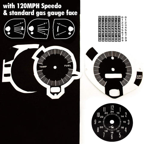 Master Dash Decal Kit, 1969 AMC AMX, Javelin w/120 Speedometer & Standard Gas Gauge Face