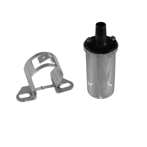 Ignition Coil Kit w/Chrome Bracket, 45,000 Volt, 1966-91 AMC, Jeep (Black or Chrome Coil) - AMC Lives