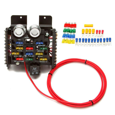 Custom 16-Circuit Upgraded Fuse Panel with LED ATO Blade Fuses, 1964-91 AMC, Eagle, Jeep, Rambler