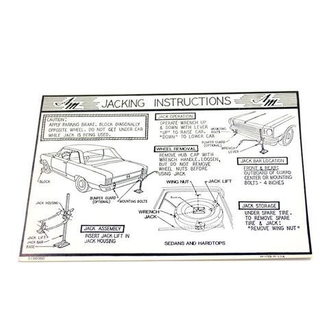 Jack Instructions Decal, 1967-68 Rambler American - AMC Lives