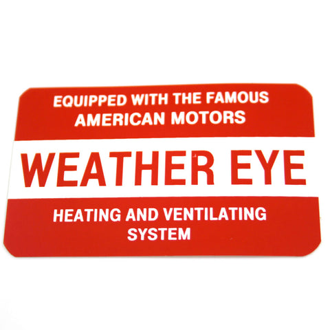 1957-68 AMC, Rambler Weather Eye Heater Vent Decal