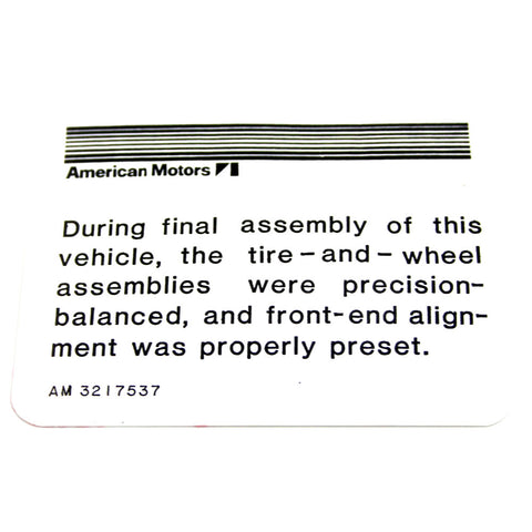 Alignment Decal, 1964-76 AMC, Rambler