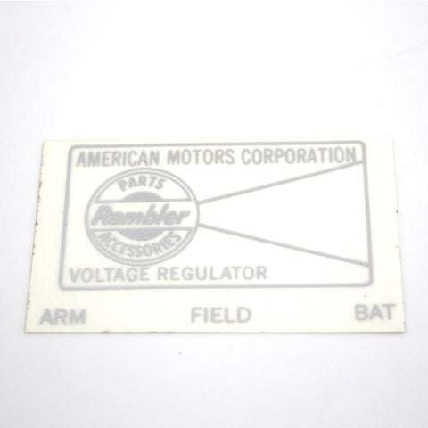 1958-69 AMC, Rambler Voltage Regulator Decal