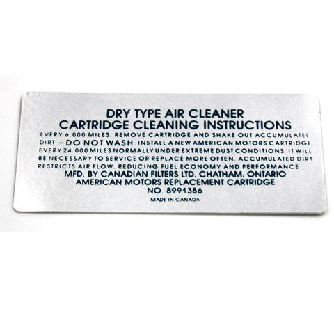 Air Cleaner Service Decal, 6-Cylinder 8991386, 1971 AMC