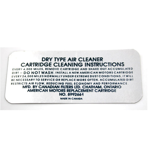 Air Cleaner Service Decal,  V-8, 8992661, 1972 AMC - AMC Lives