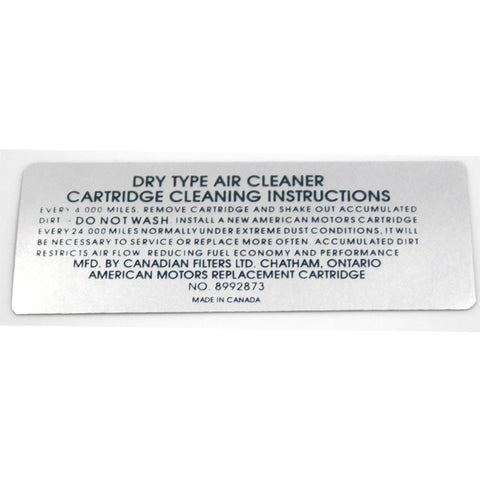 Air Cleaner Service Decal, 8992873, V-8, 1972 AMC - AMC Lives