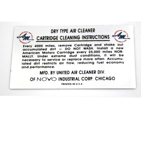 Air Cleaner Service Decal, NOVO, 1960-67 AMC, Rambler - AMC Lives