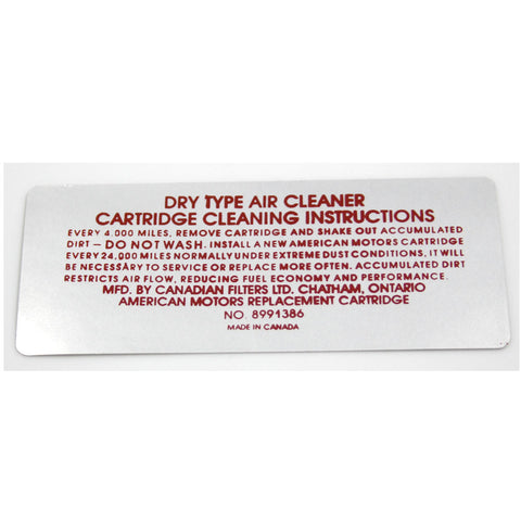 Air Cleaner Service Decal, 6-Cylinder, 8991386, 1973 AMC