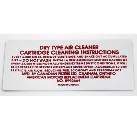 Air Cleaner Service Decal, 8992661, 1973 AMC V-8