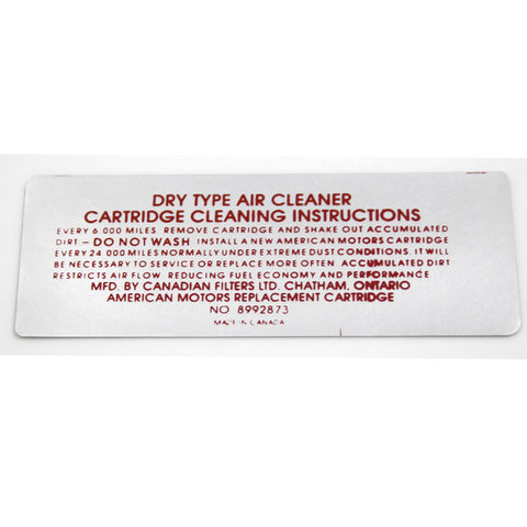 Air Cleaner Service Decal,  V-8, 01-40 8992873, 1973 AMC