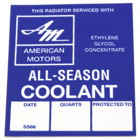 1960-75 AMC, Rambler All-Season's Cooling System Decal, 5566