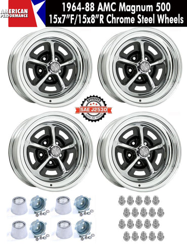 "Magnum 500 Wheel, 15X7""/15x8"" Staggered Chrome Steel, Set of 4 With Center Caps & Lug Nuts, 1964-88 AMC, Rambler, Eagle - AMC Lives"