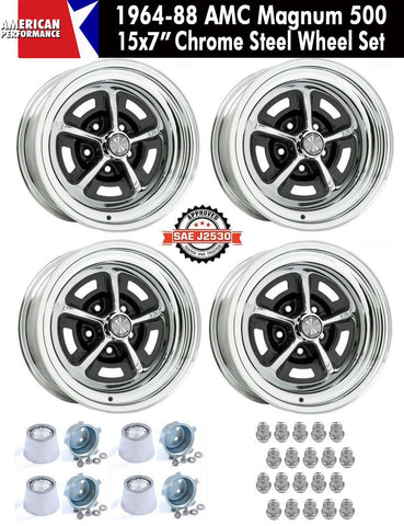"1964-1988 AMC 15X7"" Chrome Steel Magnum 500 Wheel - Set of 4 With Center Caps & Lug Nuts"