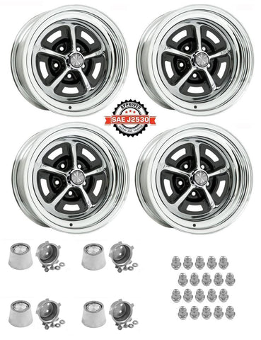 "Magnum 500 Wheel, 15X8"" Chrome Steel, Set of 4 With Center Caps & Lug Nuts, 1968-88 AMC, Rambler, Eagle"