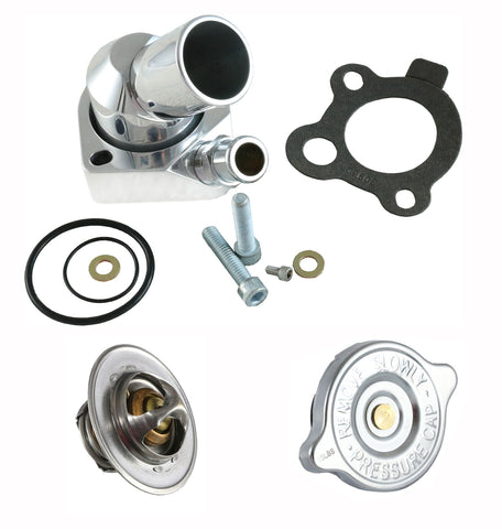 1966-91 AMC V8 Billet Aluminum Thermostat Housing, Thermostat, & Chrome Radiator Cap Kit (2 Finishes)