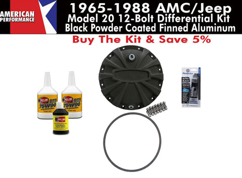 Differential Cover Kit, Model 20, Heavy Duty Black Finned Aluminum, 1965-88 AMC, Eagle, Jeep
