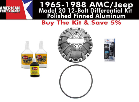 Differential Cover Kit, Model 20, Heavy Duty Polished Finned Aluminum, 1965-88 AMC, Eagle, Jeep - AMC Lives