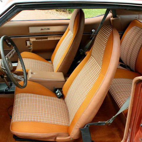Seat Cover Set, Bucket, Domino Cloth, 1974 AMC Javelin, Javelin AMX (4 Colors) - AMC Lives