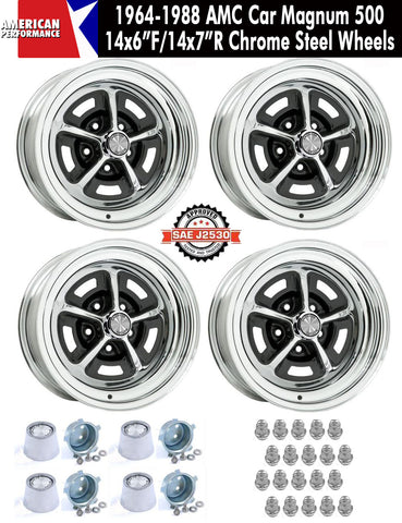 "1964-1988 AMC 14X6""/14x7"" Staggered Chrome Steel Magnum 500 Wheels - Set of 4 With Center Caps & Lug Nuts"